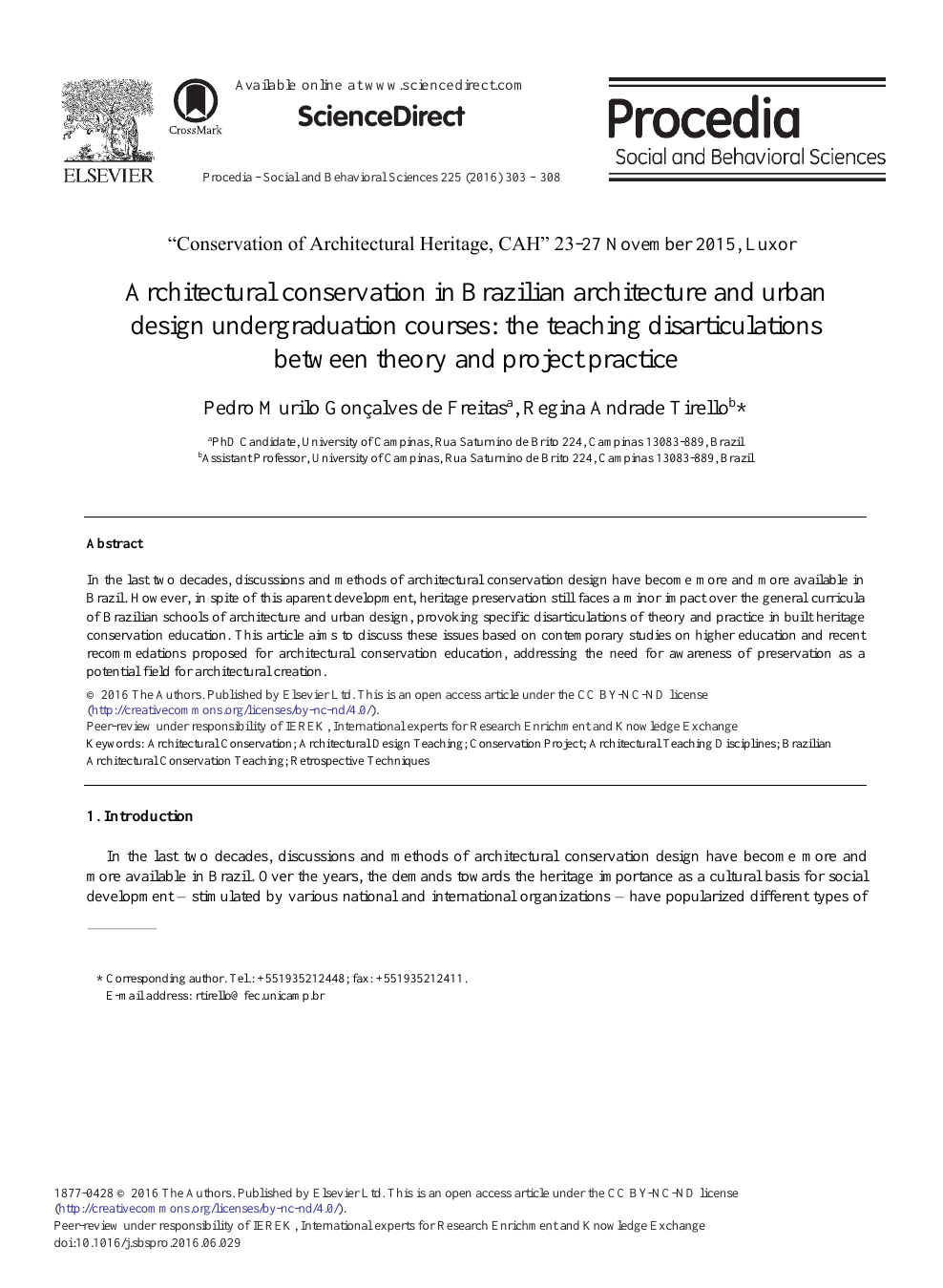 Architectural Conservation In Brazilian Architecture And Urban Design Undergraduation Courses The Teaching Disarticulations Between Theory And Project Practice Topic Of Research Paper In Agriculture Forestry And Fisheries Download Scholarly
