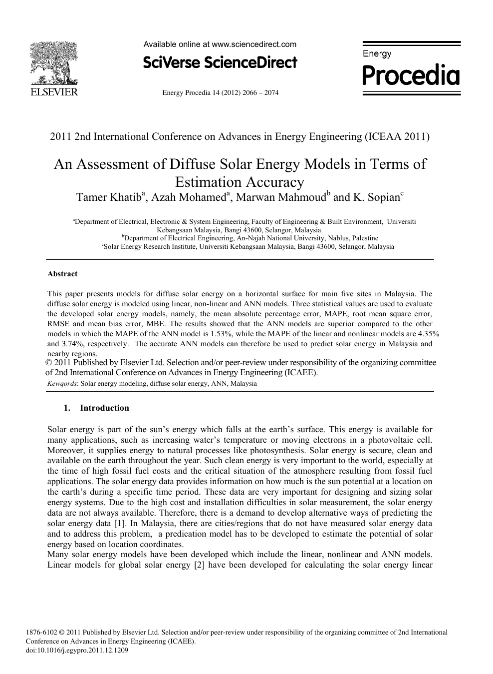 An Assessment Of Diffuse Solar Energy Models In Terms Of Estimation Accuracy Topic Of Research Paper In Earth And Related Environmental Sciences Download Scholarly Article Pdf And Read For Free On