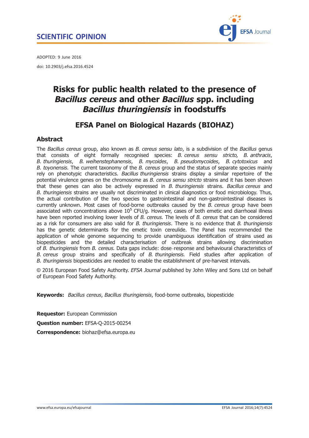 Risks for public health related to the presence ofBacillus cereusand