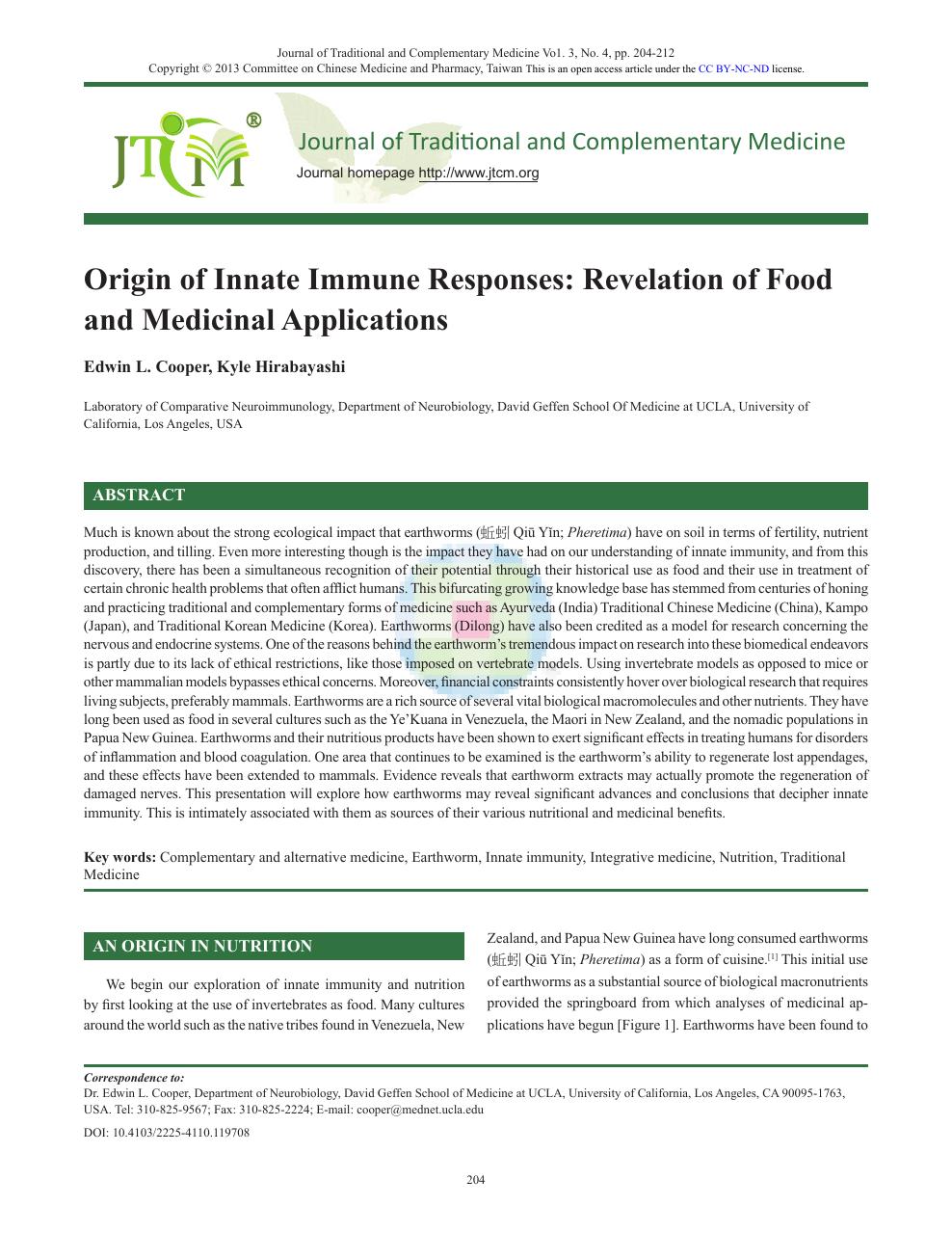 Origin of Innate Immune Responses: Revelation of Food and Medicinal