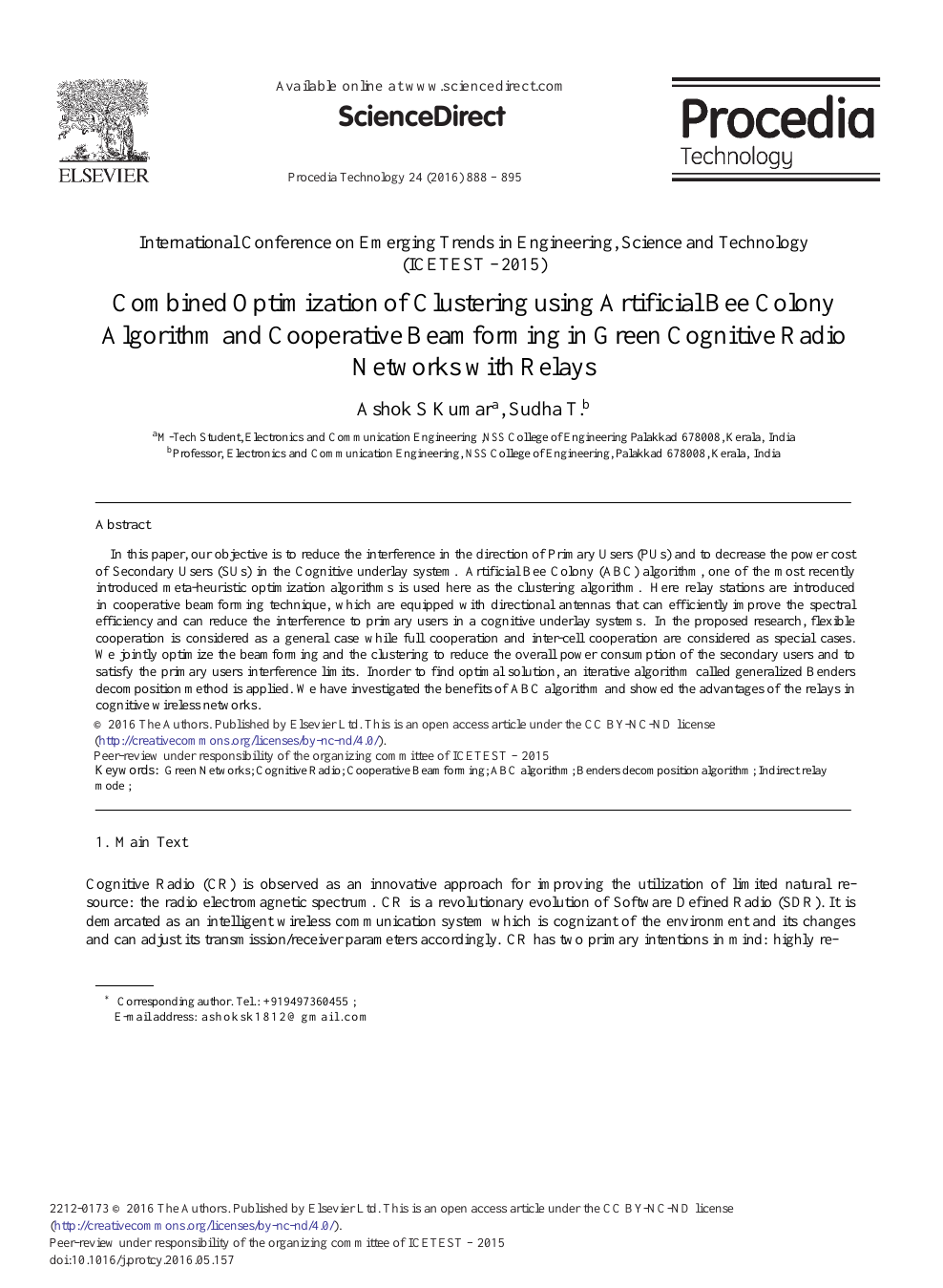 Combined Optimization of Clustering Using Artificial Bee