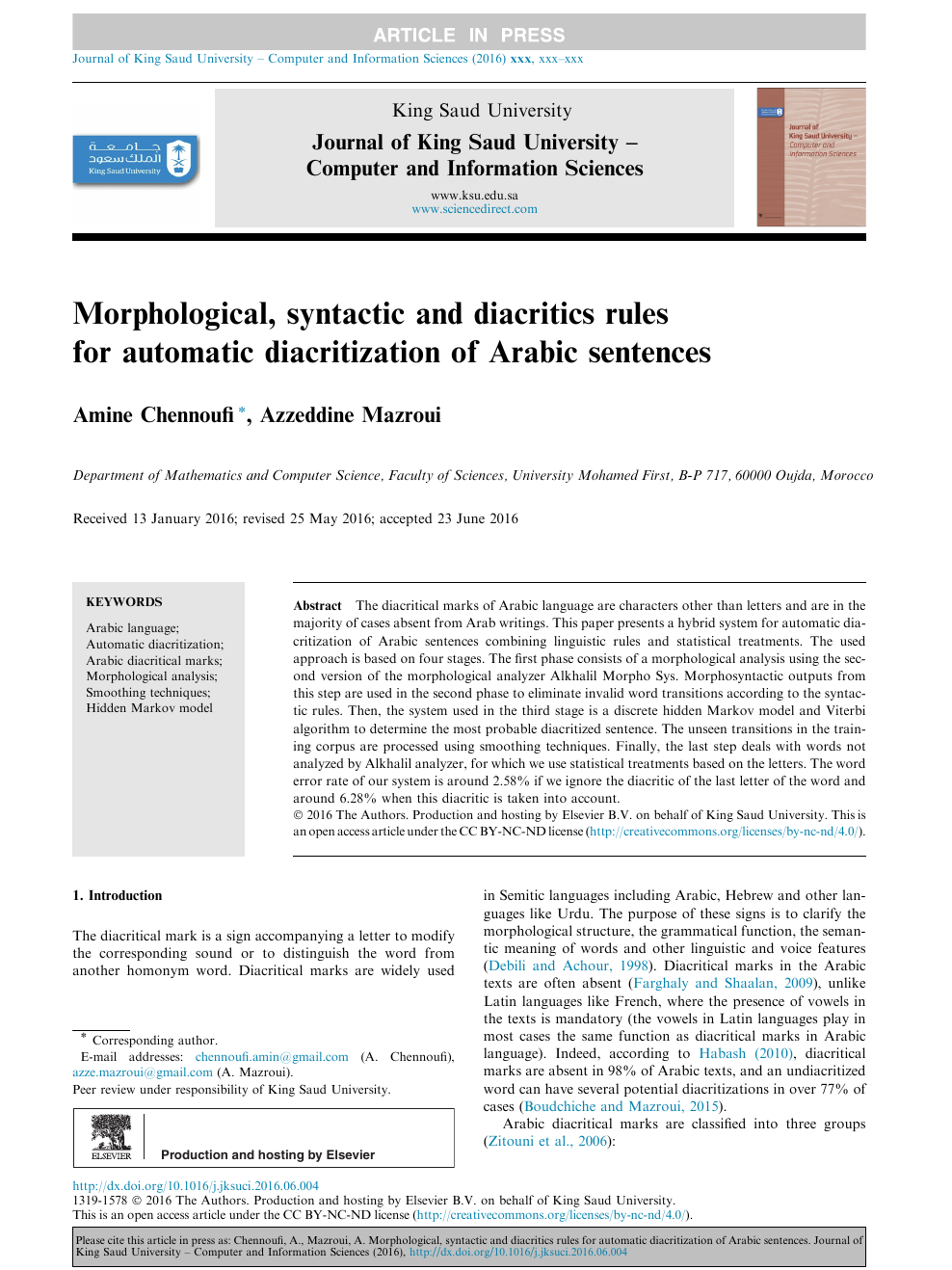 Morphological, syntactic and diacritics rules for automatic