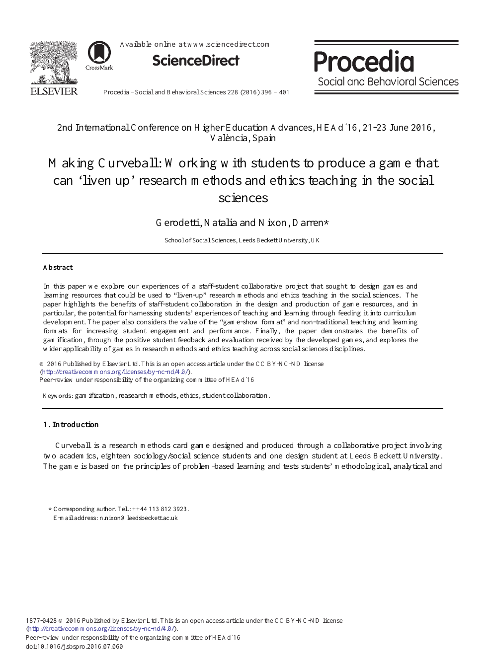 Making Curveball Working With Students To Produce A Game That Can Liven Up Research Methods And Ethics Teaching In The Social Sciences Topic Of Research Paper In Educational Sciences Download Scholarly
