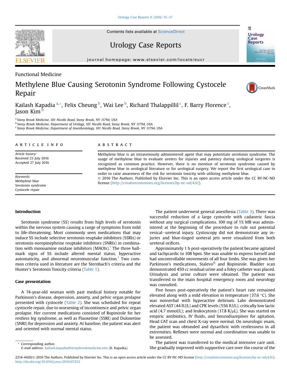Methylene Blue Causing Serotonin Syndrome Following Cystocele Repair