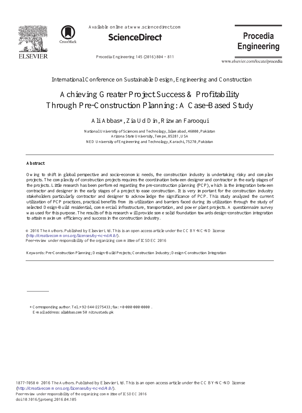 Achieving Greater Project Success Profitability Through Pre Construction Planning A Case Based Study Topic Of Research Paper In Civil Engineering Download Scholarly Article Pdf And Read For Free On Cyberleninka Open Science
