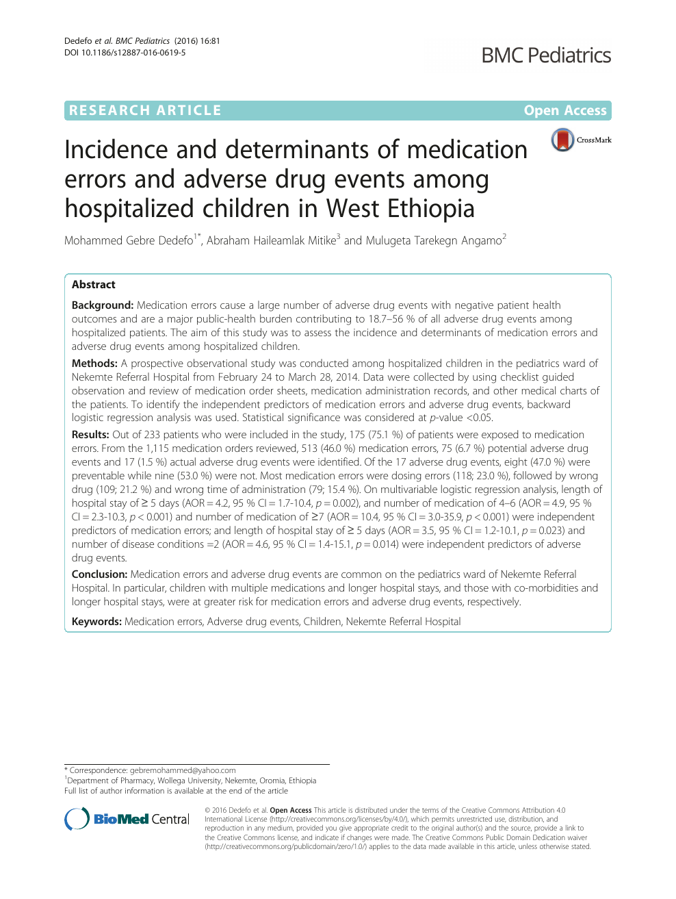 Incidence and determinants of medication errors and adverse