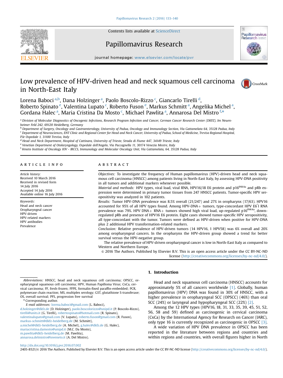 Low prevalence of HPV-driven head and neck squamous cell carcinoma in  North-East Italy – topic of research paper in Health sciences. Download  scholarly article PDF and read for free on CyberLeninka open