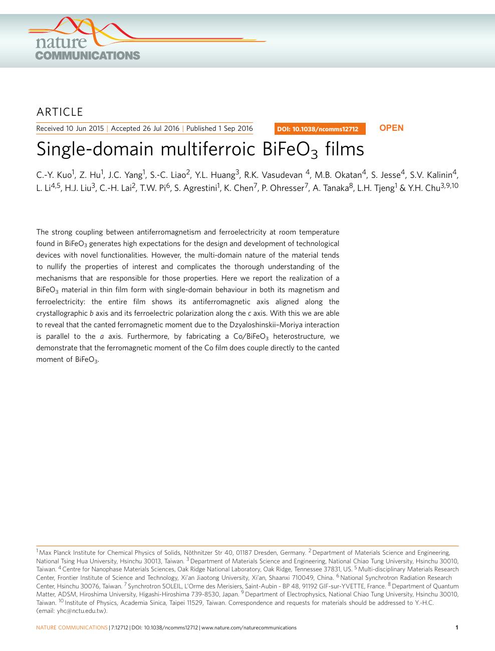 Single-domain multiferroic BiFeO3 films – topic of research