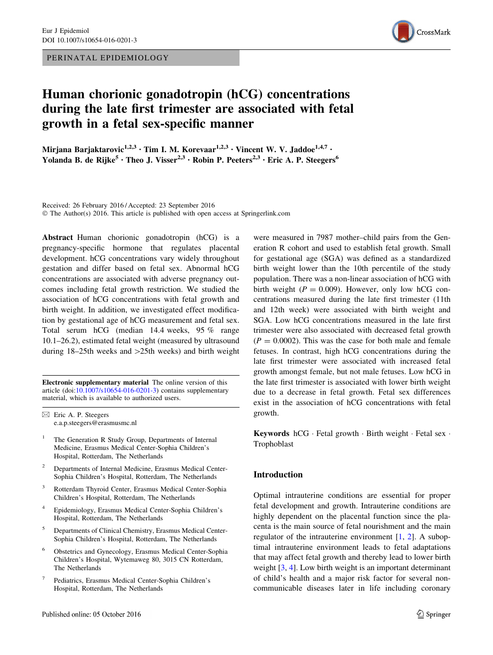 Human chorionic gonadotropin (hCG) concentrations during the late first  trimester are associated with fetal growth in a fetal sex-specific manner –  topic of research paper in Health sciences. Download scholarly article PDF