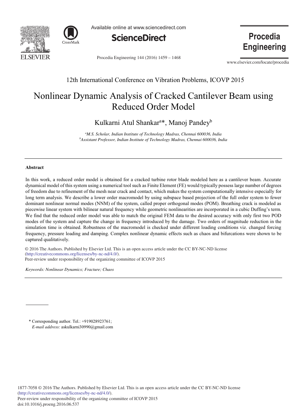 Nonlinear Dynamic Analysis of Cracked Cantilever Beam Using Reduced