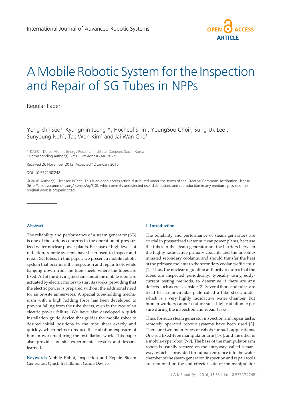 A Mobile Robotic System for the Inspection and Repair of SG