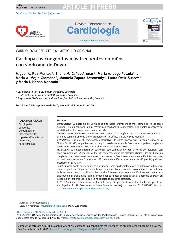 Hipertensión pulmonar en recien nacidos con sindrome de down caracteristicas