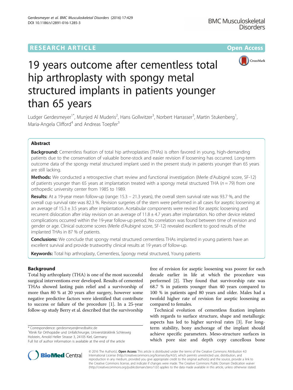 19 years outcome after cementless total hip arthroplasty
