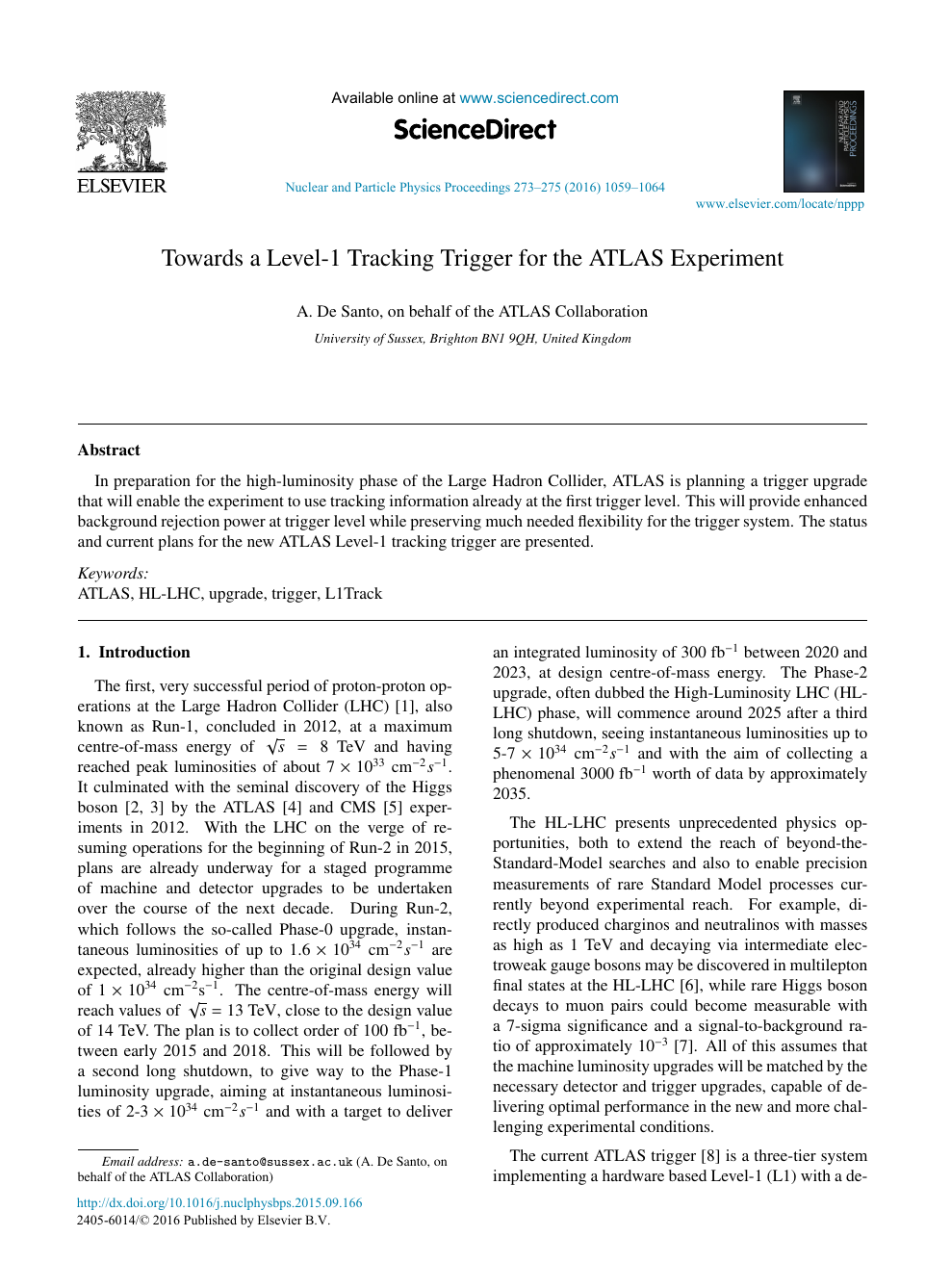 Towards a Level-1 Tracking Trigger for the ATLAS Experiment – topic