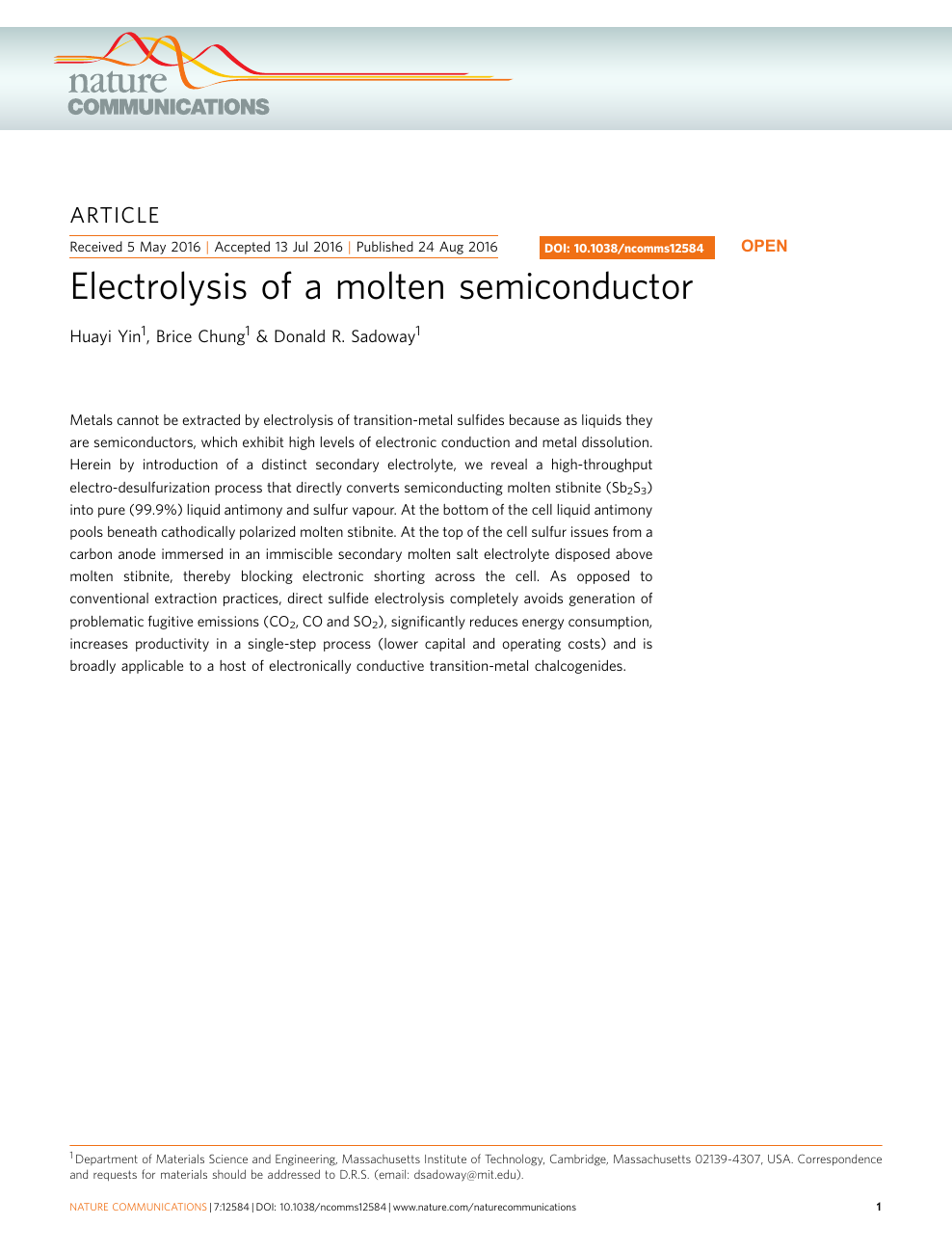 Electrolysis of a molten semiconductor – topic of research paper in