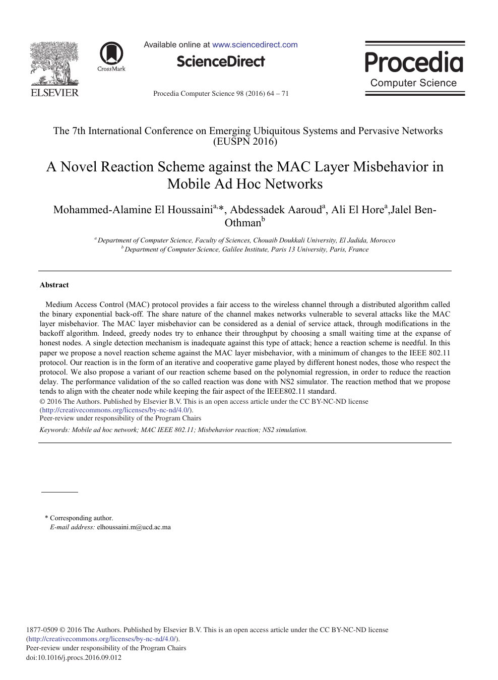 A Novel Reaction Scheme against the MAC Layer Misbehavior in Mobile