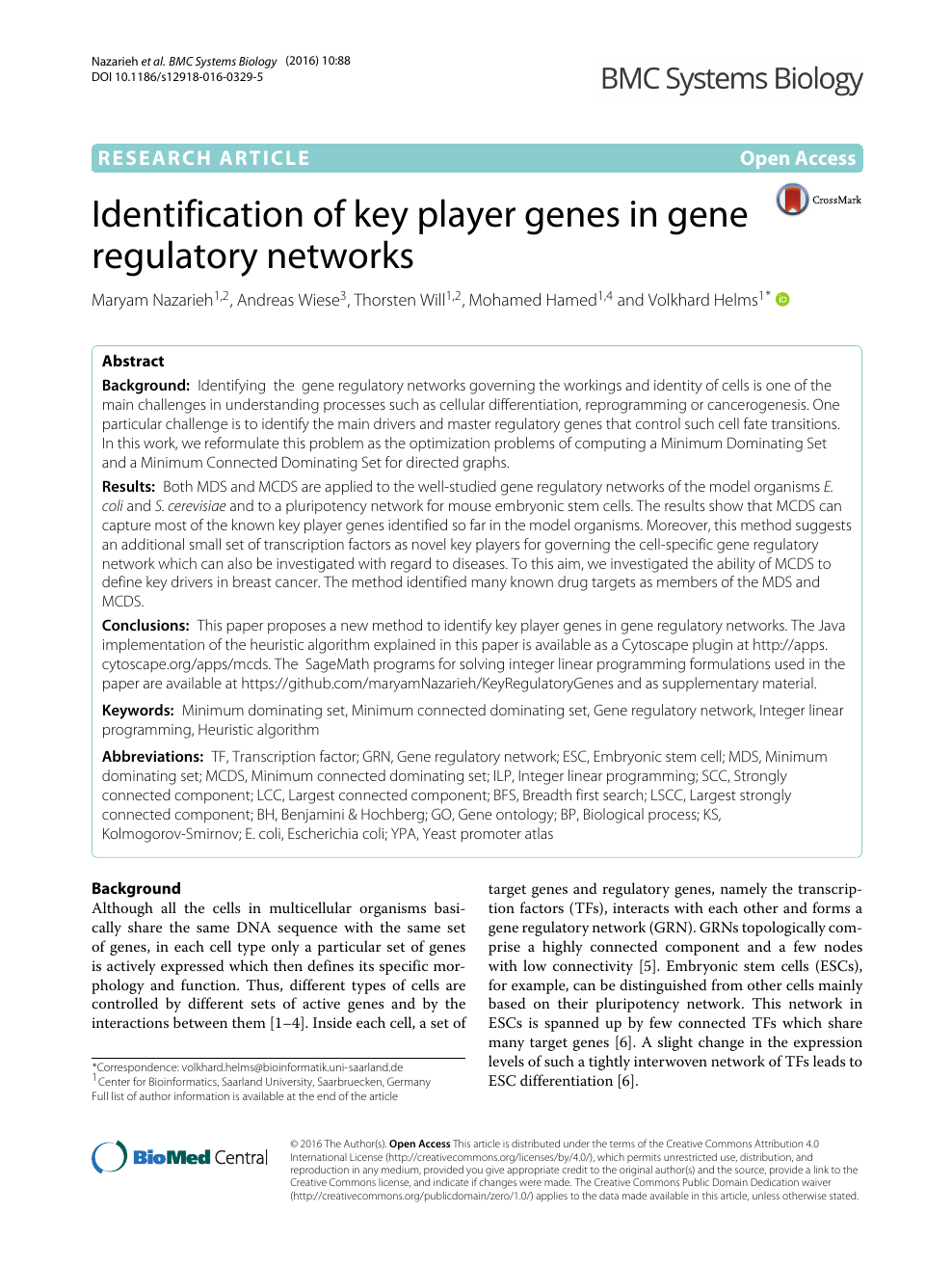 Identification of key player genes in gene regulatory