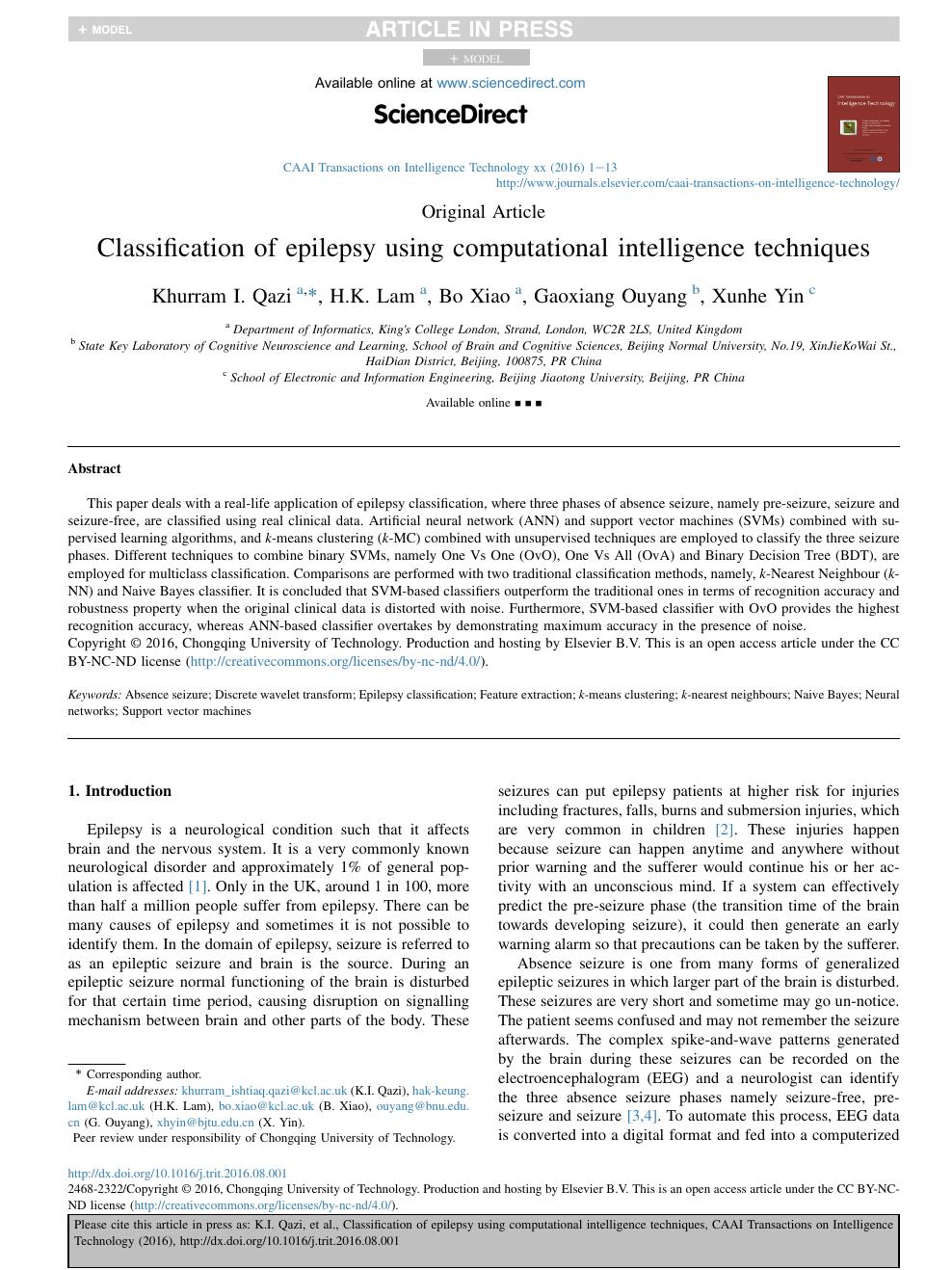 Classification of epilepsy using computational intelligence