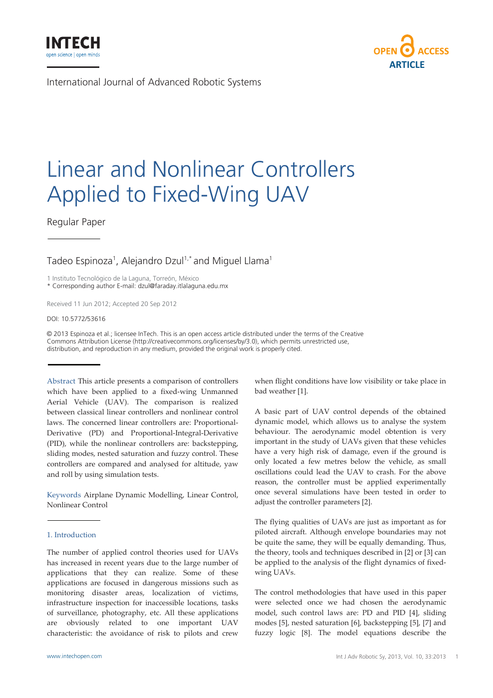 Linear and Nonlinear Controllers Applied to Fixed-Wing UAV