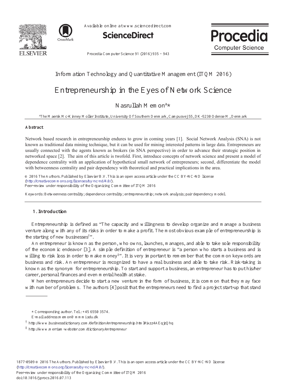 Entrepreneurship In The Eyes Of Network Science Topic Of