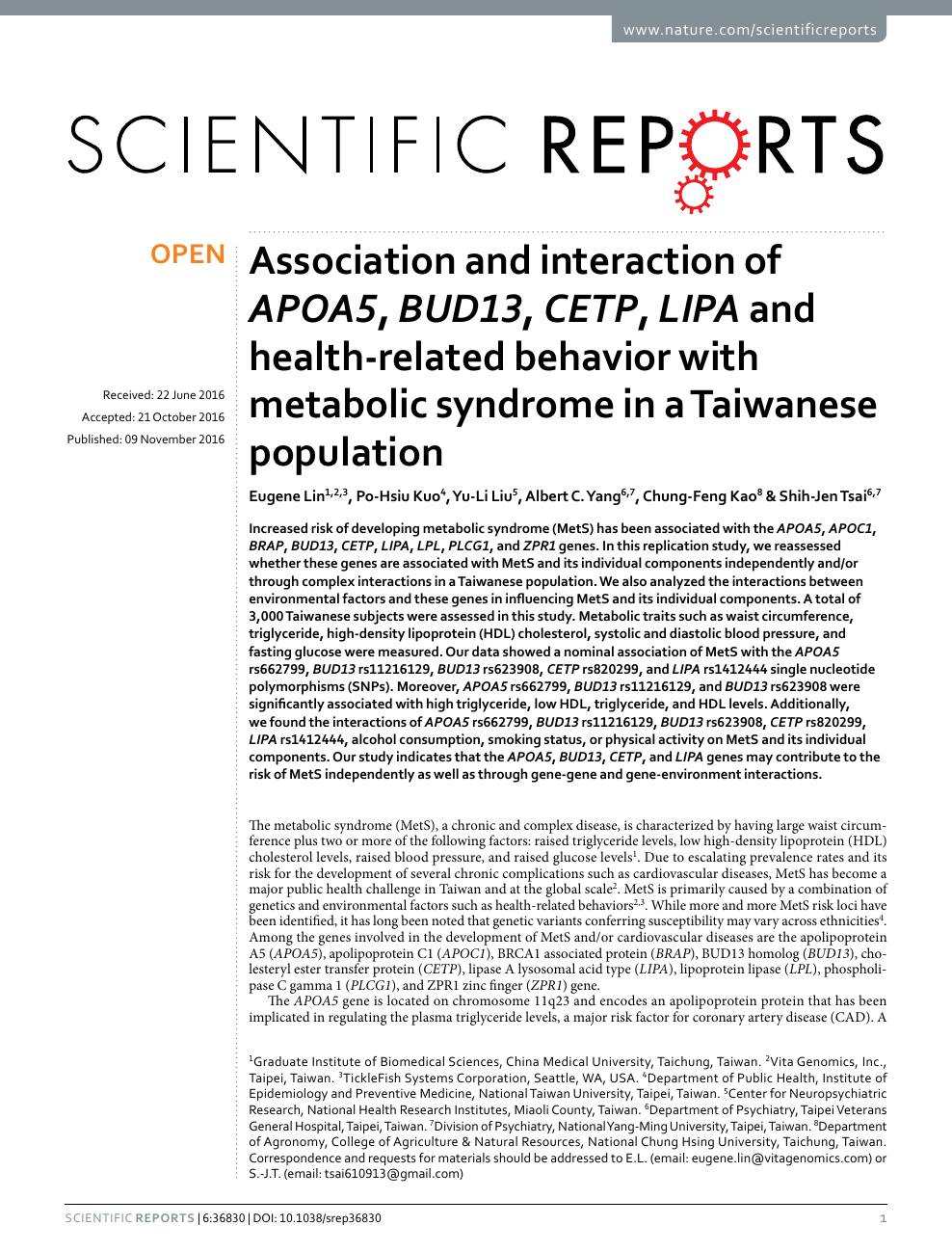 Association and interaction of APOA5, BUD13, CETP, LIPA and