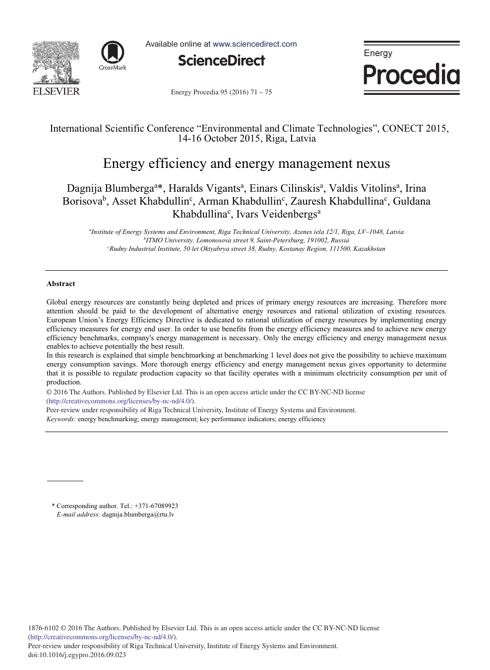 Energy Efficiency and Energy Management Nexus – topic of research