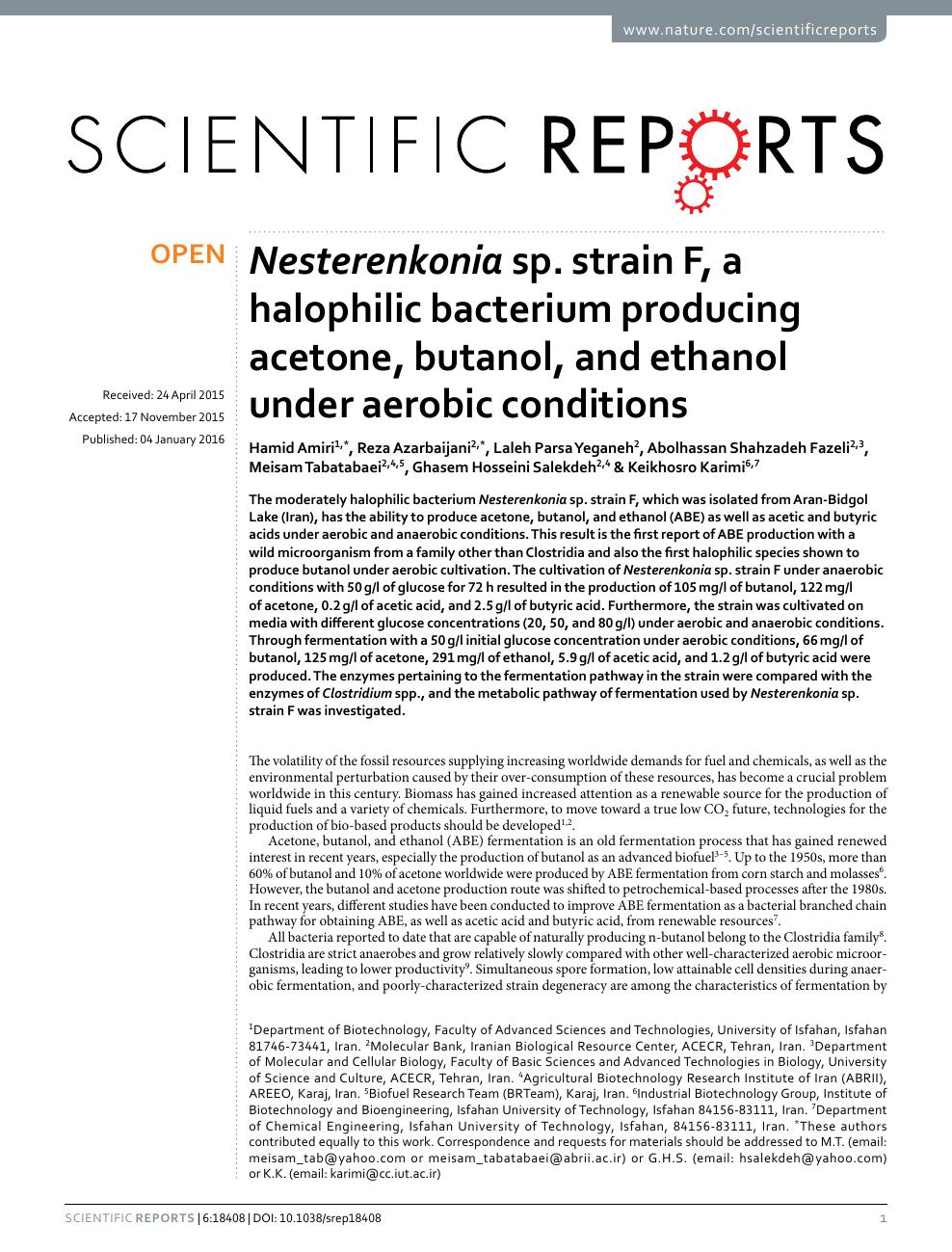 Nesterenkonia sp  strain F, a halophilic bacterium producing acetone