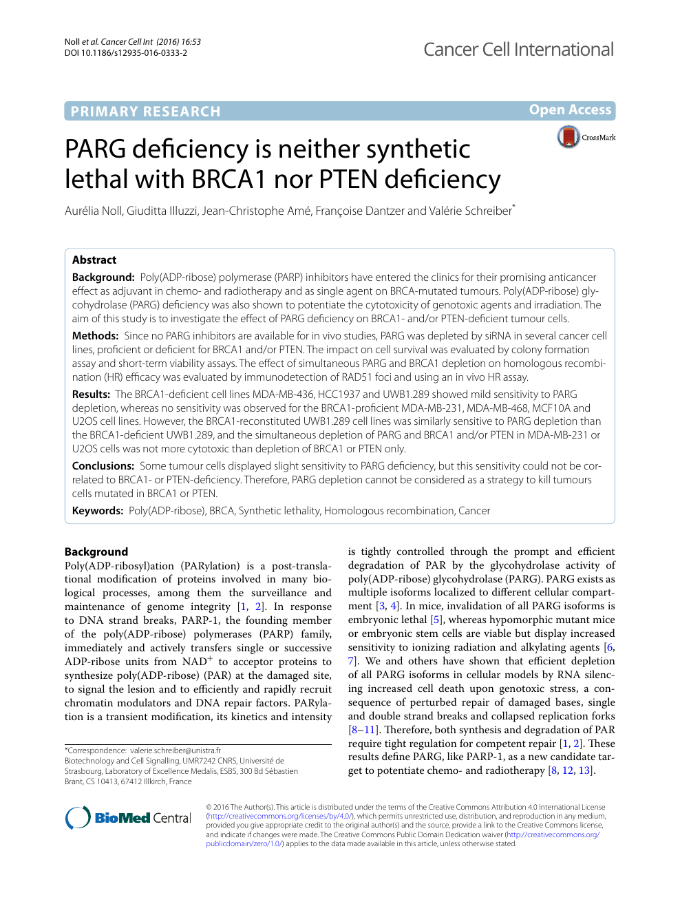 PARG Deficiency Is Neither Synthetic Lethal With BRCA1 Nor PTEN