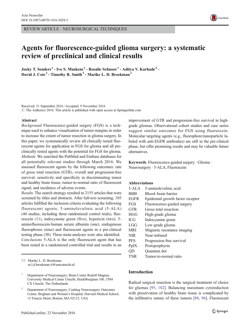 Agents for fluorescence-guided glioma surgery: a systematic