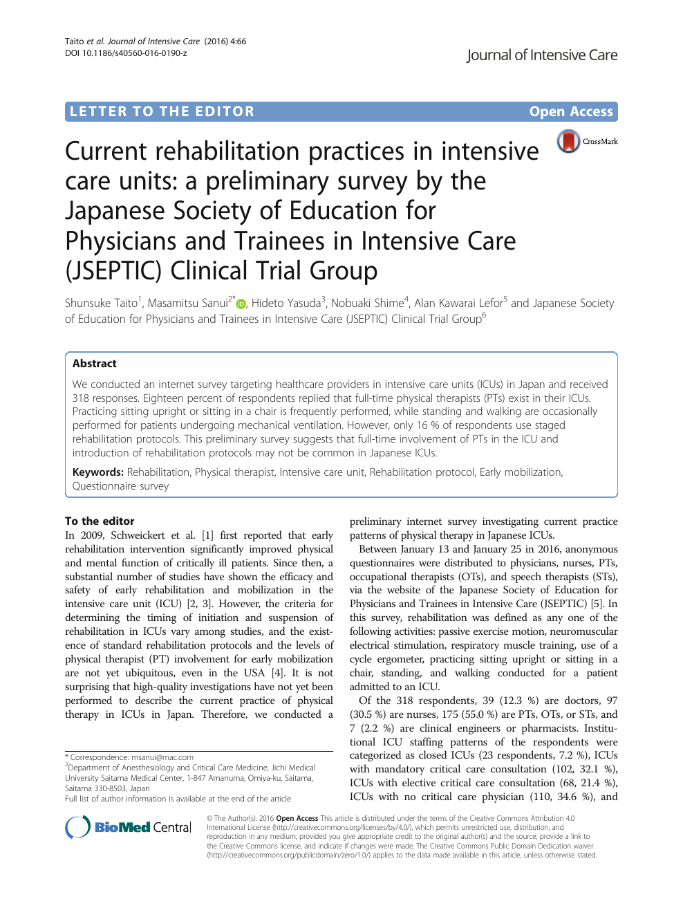 Current rehabilitation practices in intensive care units: a