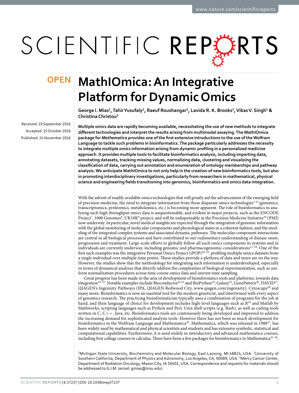 MathIOmica: An Integrative Platform for Dynamic Omics