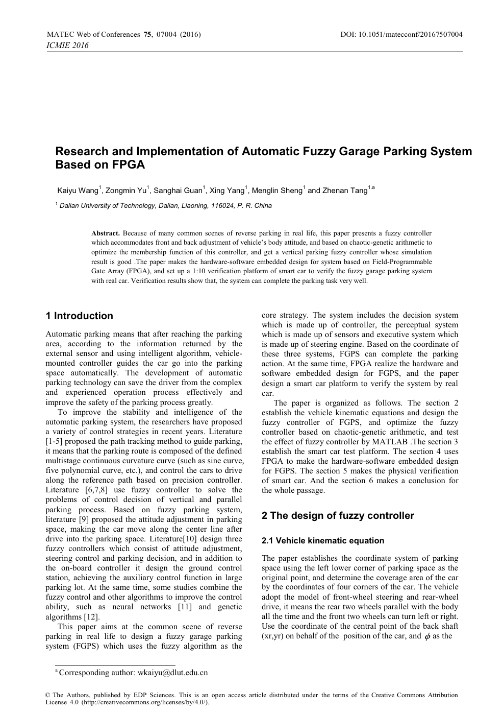 Research and Implementation of Automatic Fuzzy Garage