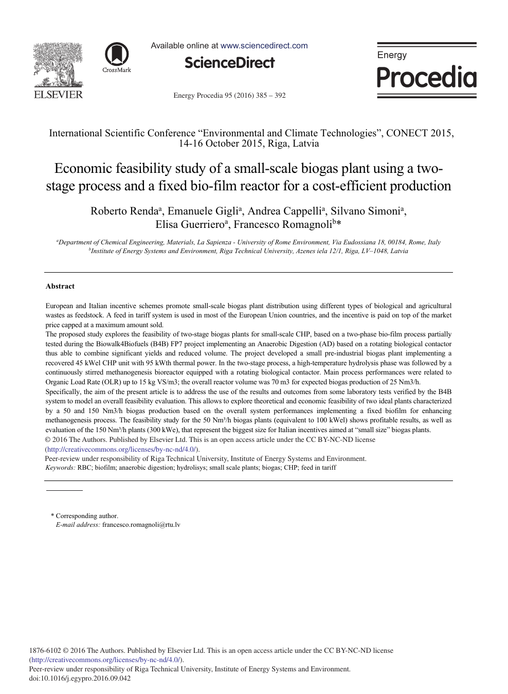 Economic Feasibility Study of a Small-scale Biogas Plant