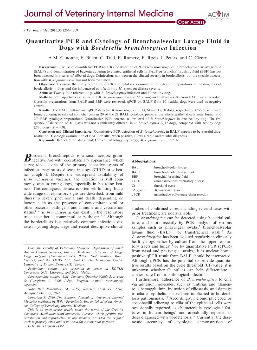 Quantitative PCR and Cytology of Bronchoalveolar Lavage