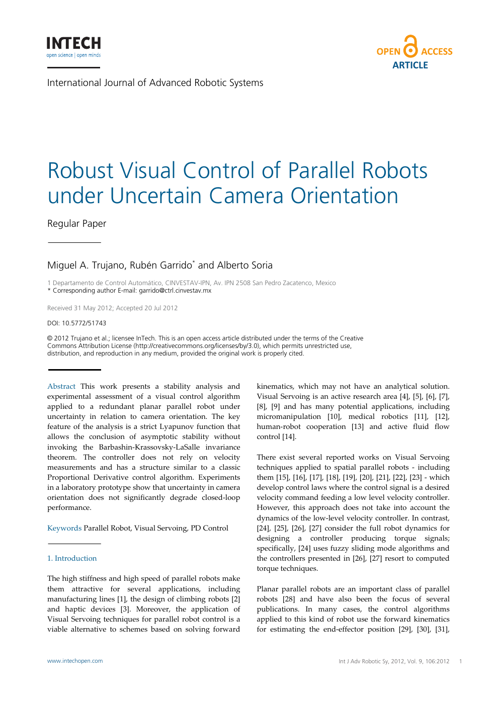 Robust Visual Control of Parallel Robots under Uncertain