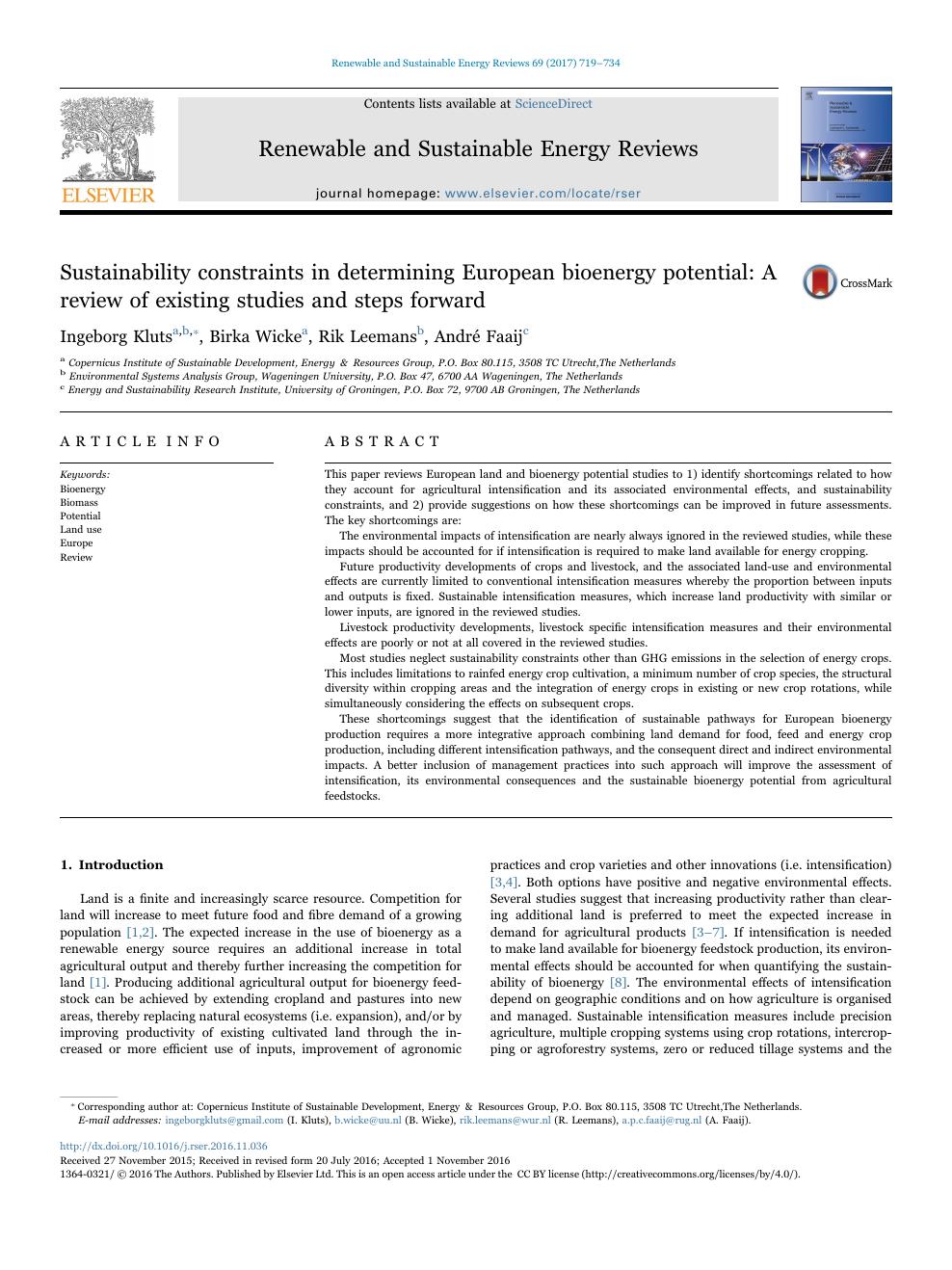 Sustainability constraints in determining European bioenergy