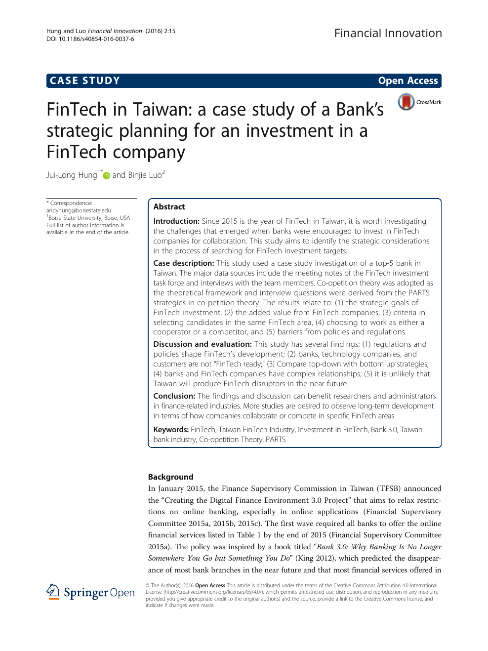 FinTech in Taiwan: a case study of a Bank's strategic