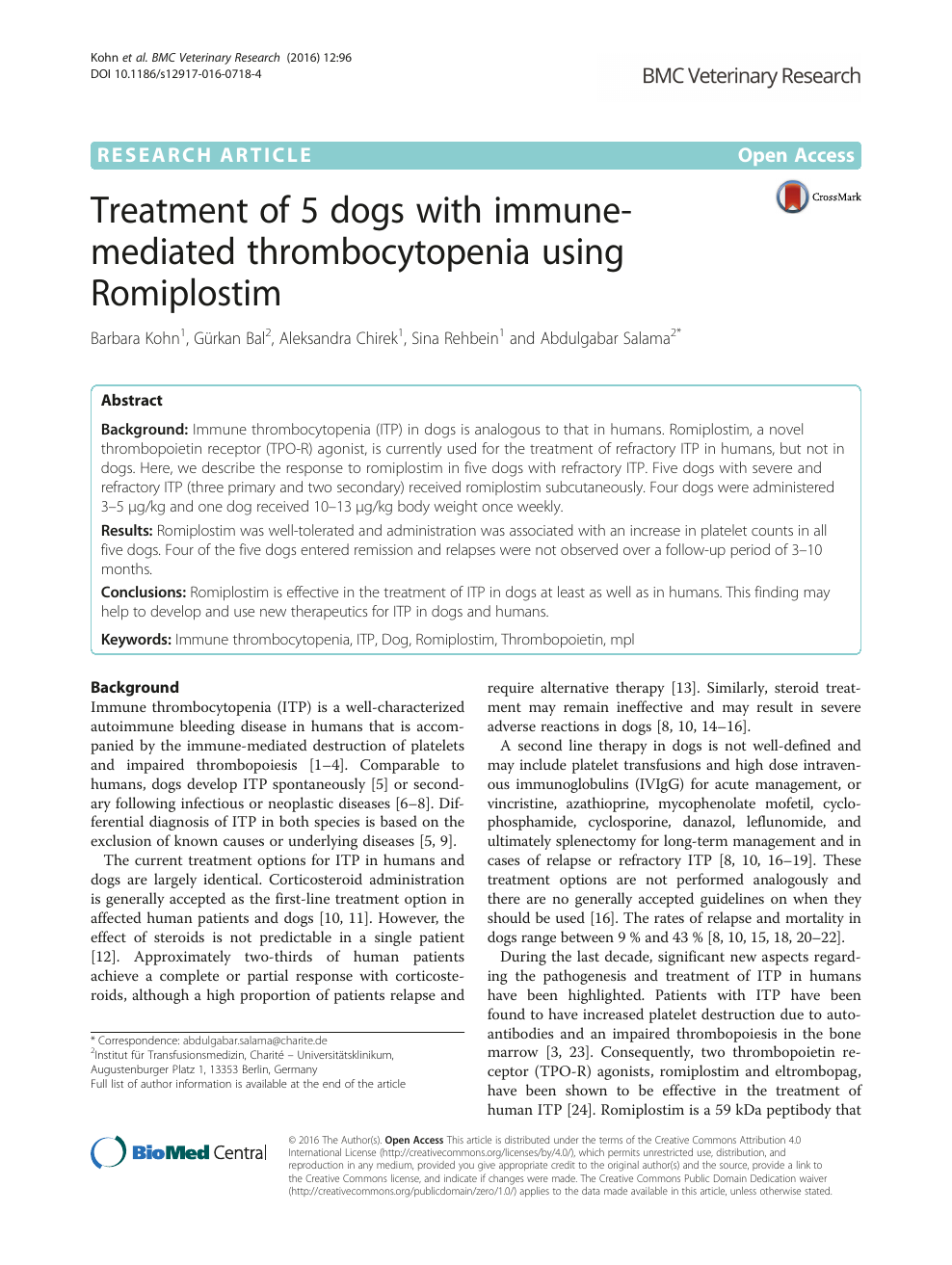 Treatment Of 5 Dogs With Immune Mediated Thrombocytopenia Using Romiplostim Topic Of Research Paper In Veterinary Science Download Scholarly Article Pdf And Read For Free On Cyberleninka Open Science Hub
