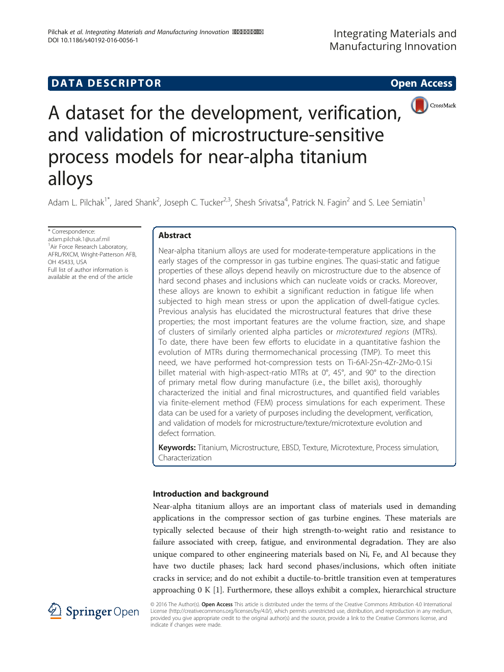 A dataset for the development, verification, and validation