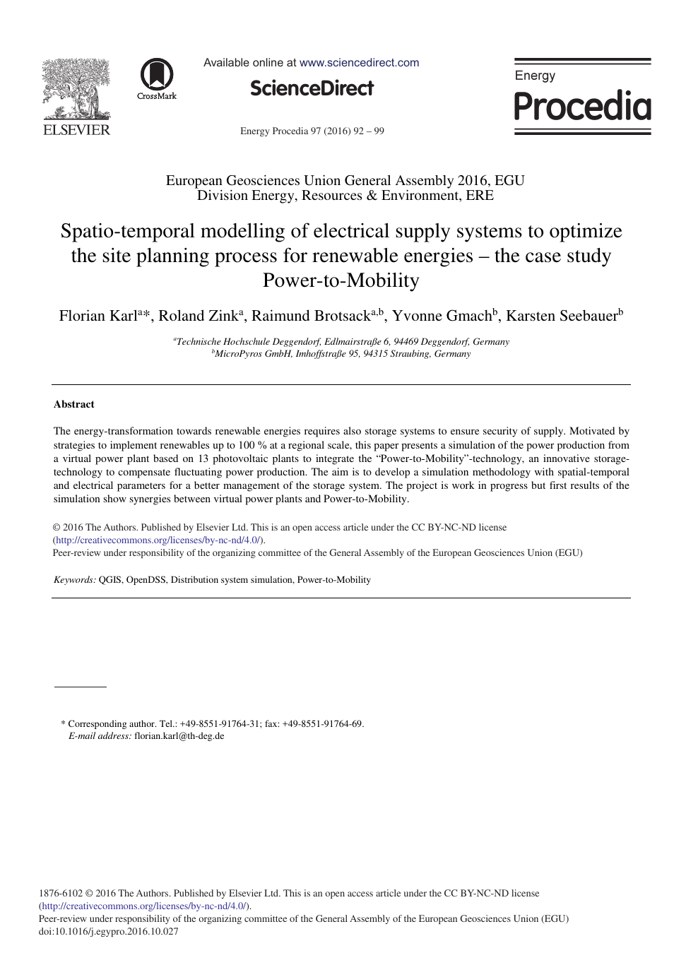 Spatio-temporal Modelling of Electrical Supply Systems to