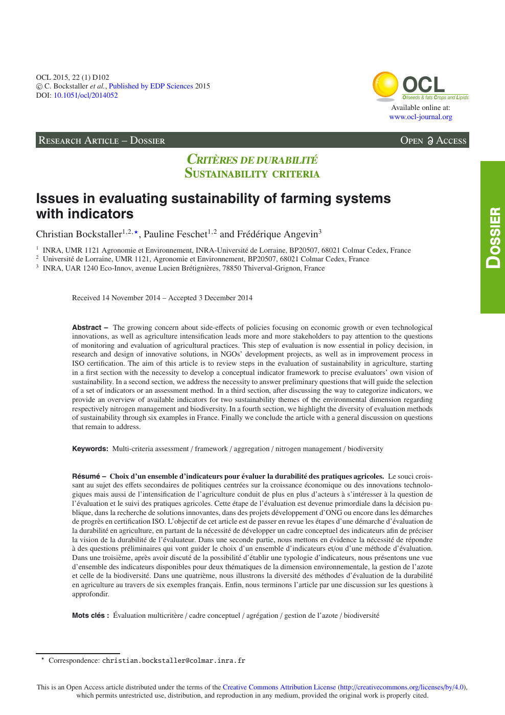 Issues in evaluating sustainability of farming systems with