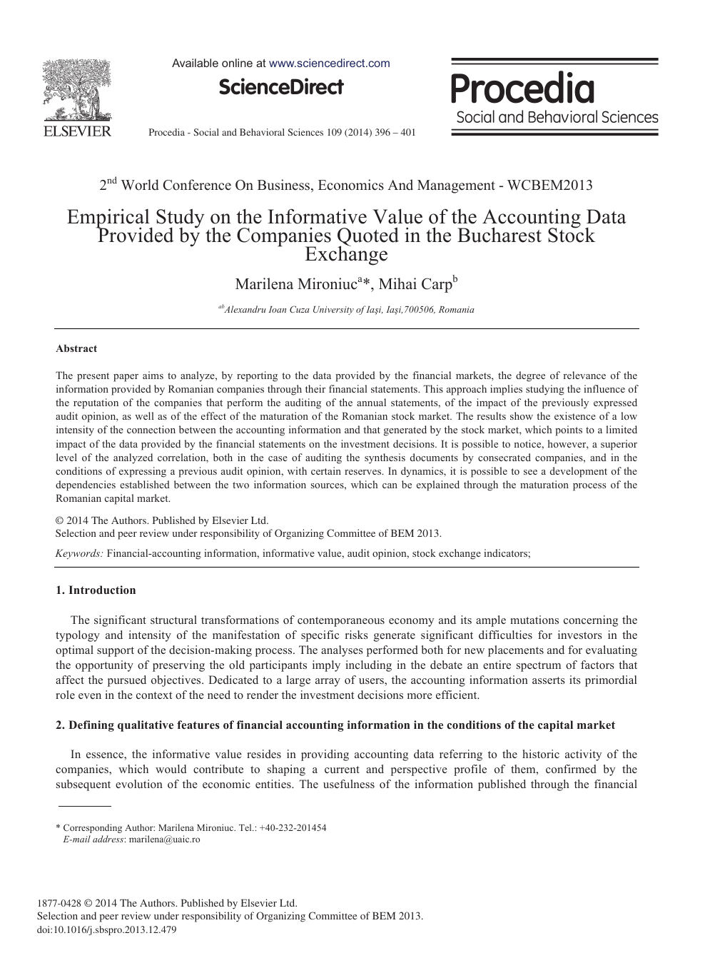 Empirical Study on the Informative Value of the Accounting Data