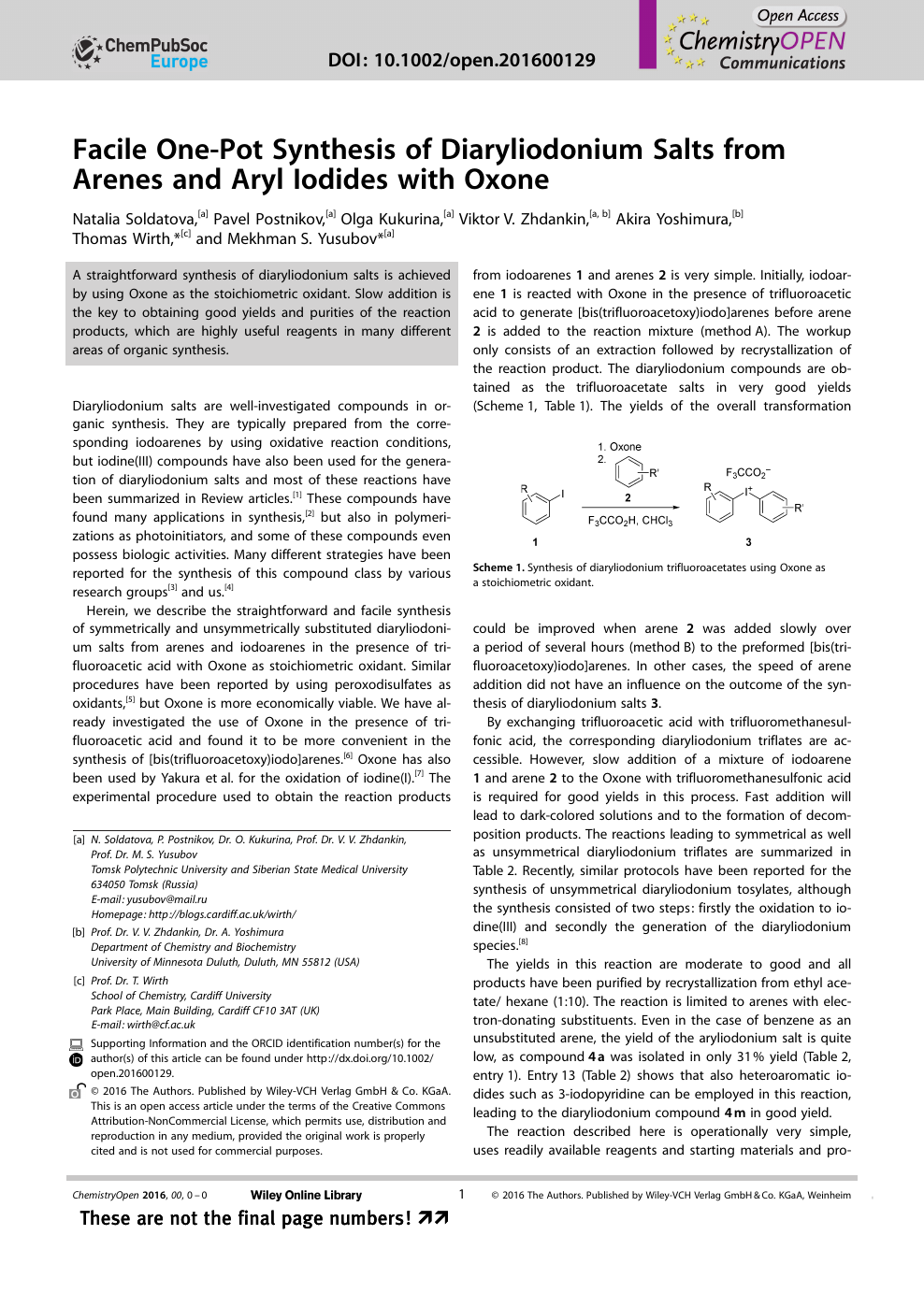 62eeb4ec22d3 Facile One-Pot Synthesis of Diaryliodonium Salts from Arenes and ...