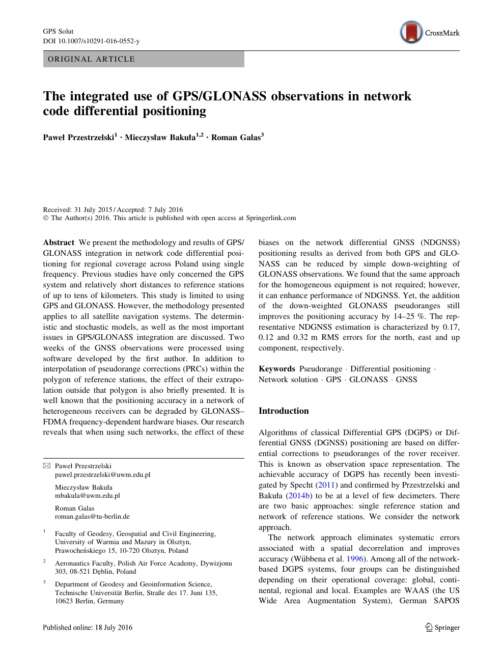 The integrated use of GPS/GLONASS observations in network