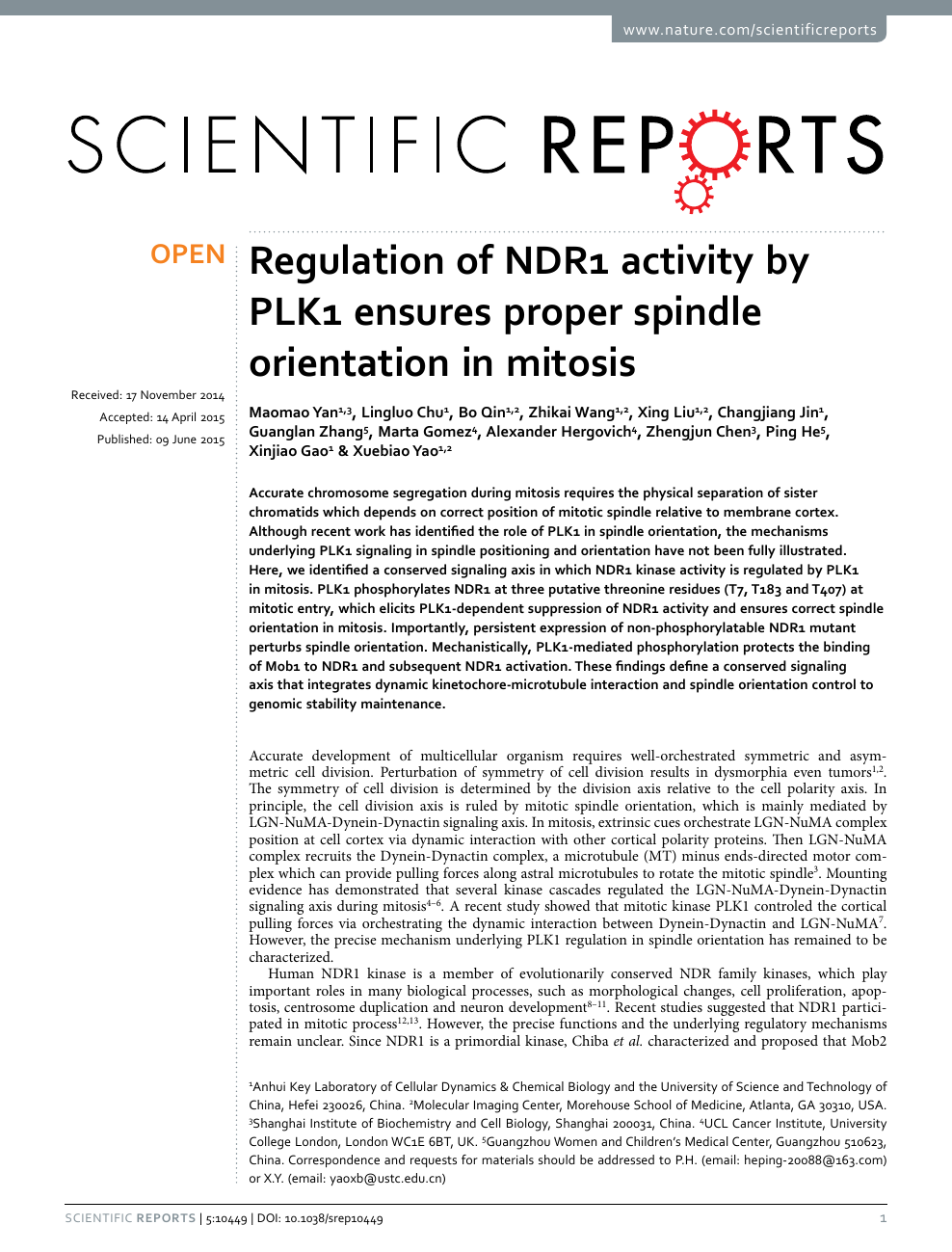 Regulation of NDR1 activity by PLK1 ensures proper spindle