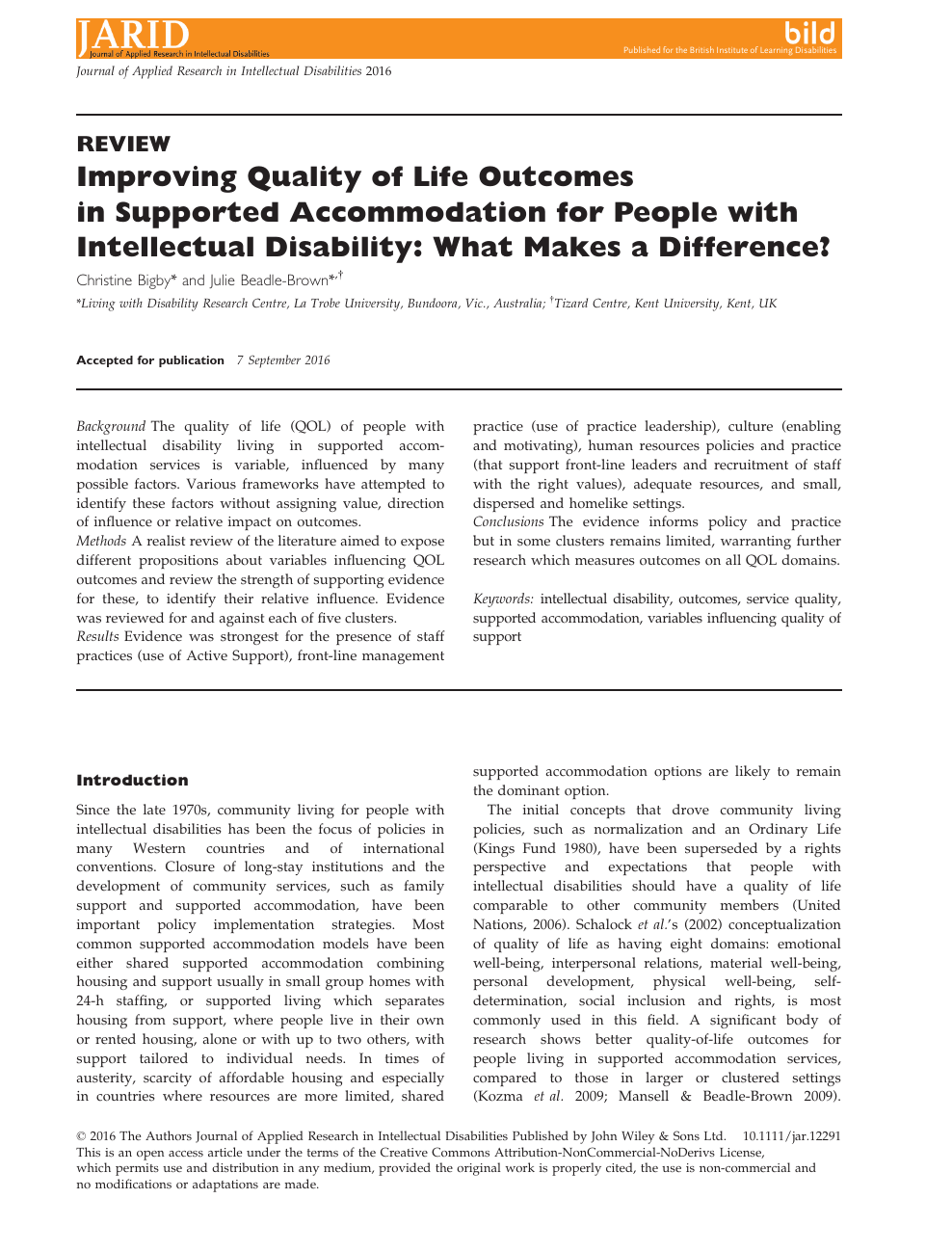 Improving Quality of Life Outcomes in Supported