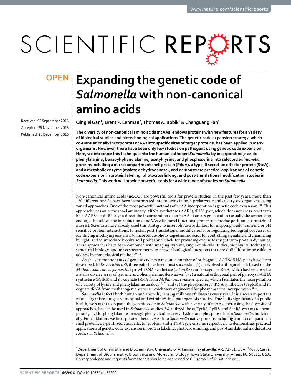 Expanding the genetic code of Salmonella with non-canonical amino
