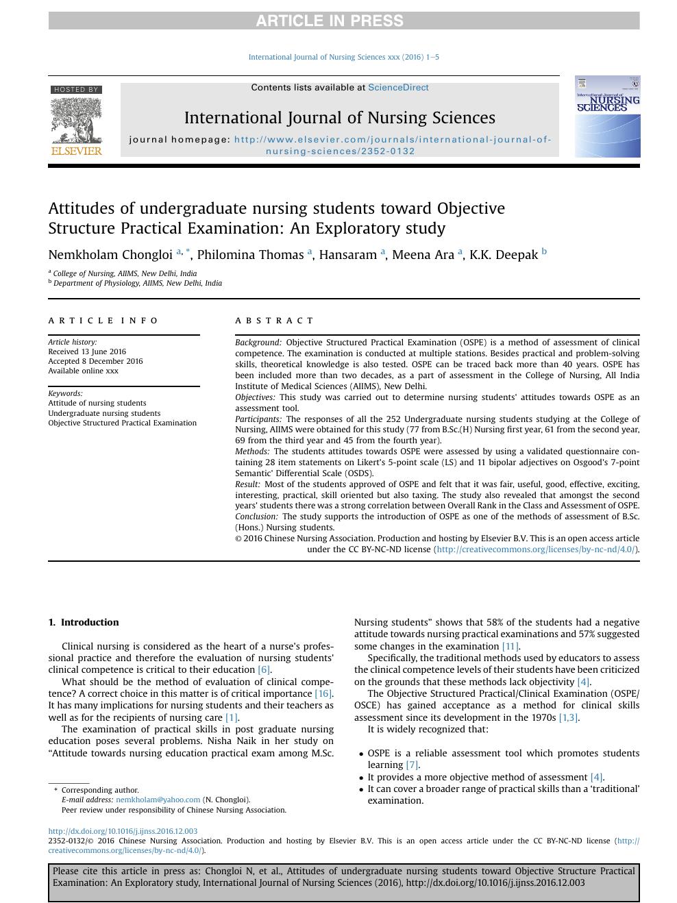 Attitudes of undergraduate nursing students toward Objective