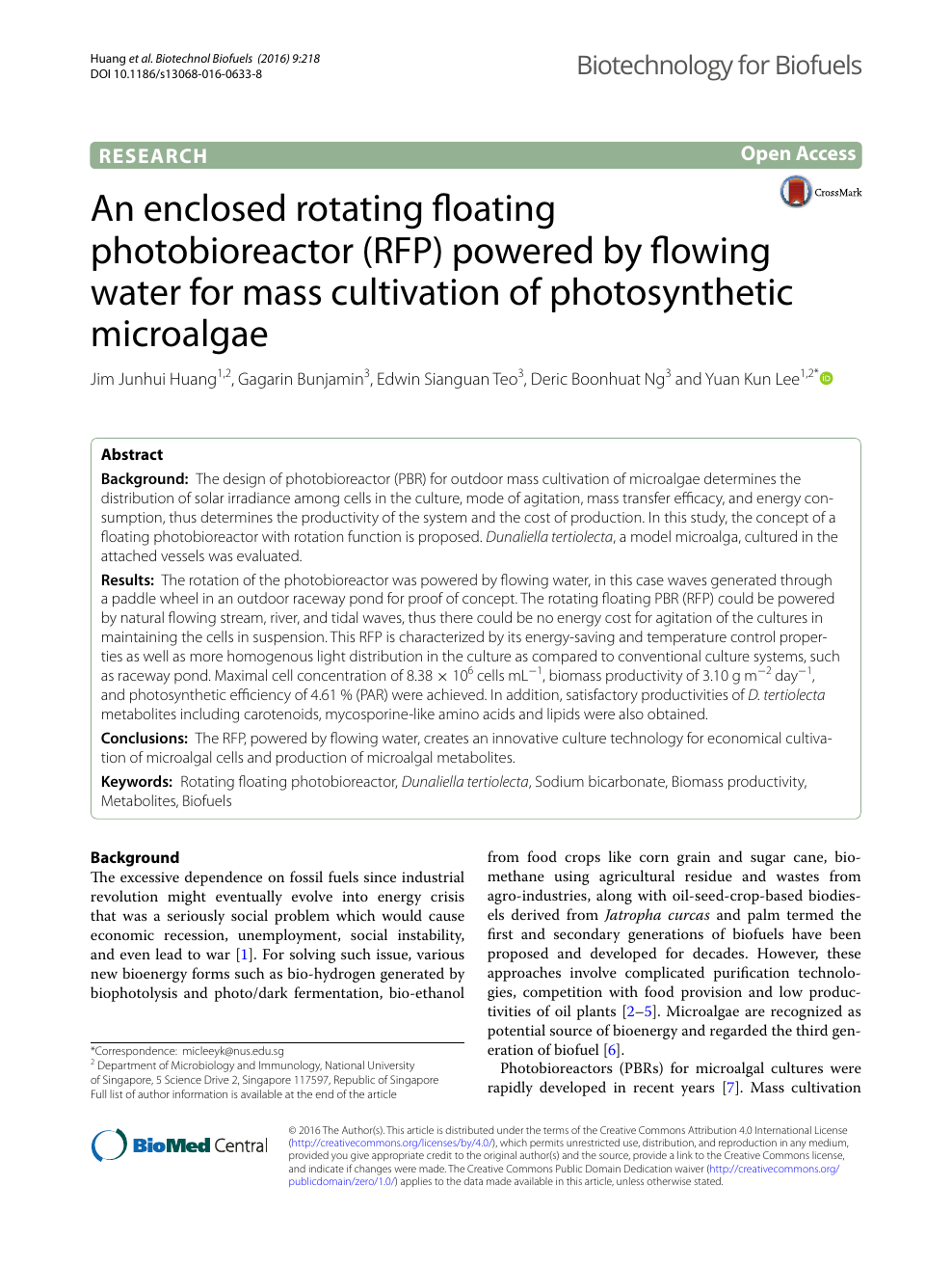 An Enclosed Rotating Floating Photobioreactor Rfp Powered By Flowing Water For Mass Cultivation Of Photosynthetic Microalgae Topic Of Research Paper In Biological Sciences Download Scholarly Article Pdf And Read For Free