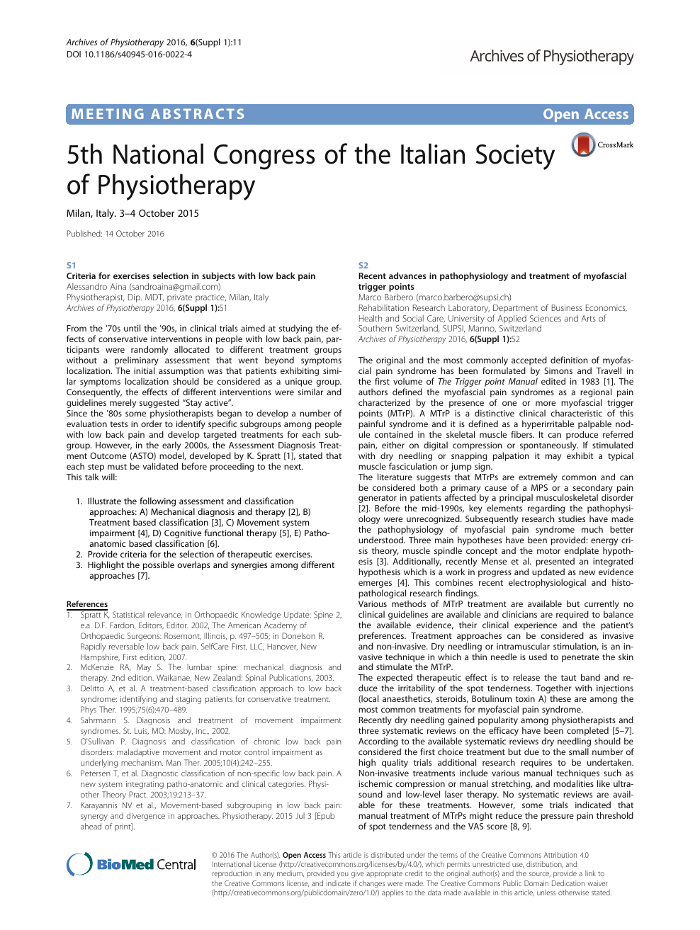 5th National Congress of the Italian Society of Physiotherapy